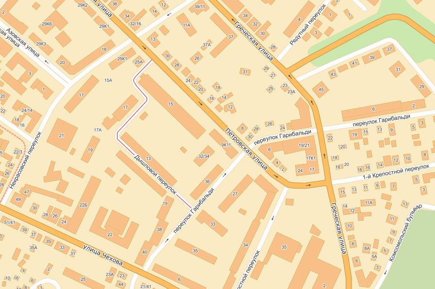 Старое кладбище Таганрога: Переулок Дышловой на карте Таганрога