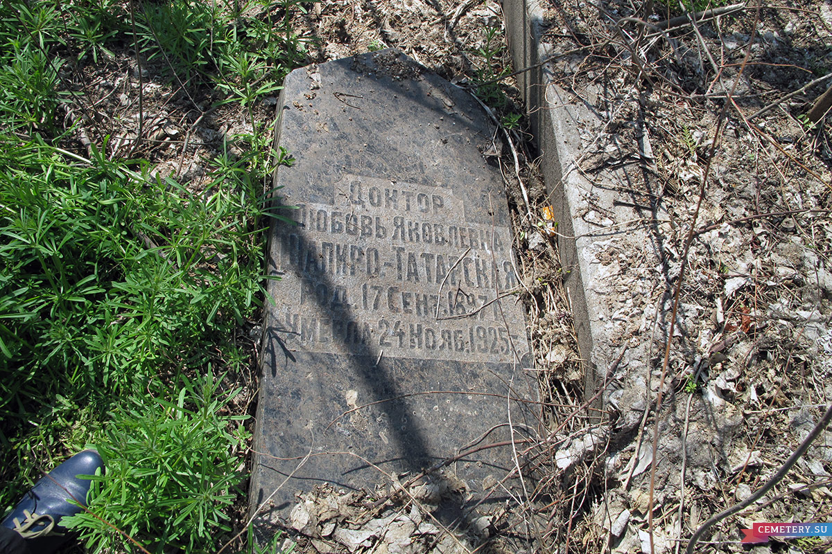 Старое кладбище Таганрога. Врач Шапиро-Татарская Л. Я.