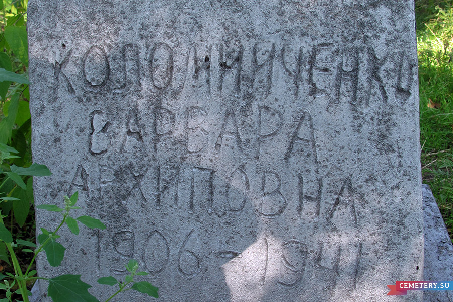 Старое кладбище Таганрога. Коломийченко В. А.